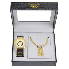 Men's Hip Hop Iced CZ Gold Plated Watch Jesus Pendant Chain SET WM 8275 G