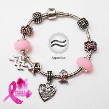 Stylish Aquarius Zodiac Purple Black Pink Murano Breast Cancer Charm Bracelet