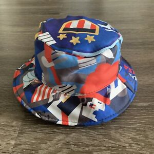 VINTAGE Olympics Bucket Hat Adult One Size Multi Colored Blue Microsoft 90s