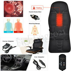 Back Heated Massager Vibration Soft Car Seat Cover Chair Wamer Mat Home Office