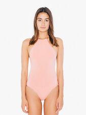 American Apparel Coral Pink Cheeks Halter High Neck Bodysuit XXS or XS (petite)