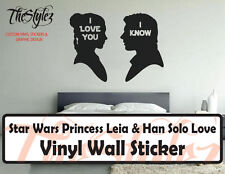 Star Wars Princess Leia & Han Solo Love Oversize Wall Vinyl Sticker