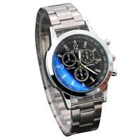 Élégant-montre-Homme-Cadran Noir-Or-Inox-Acier-Date-Quartz-Montre-CLASSIQUE