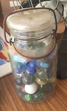 ANTIQUE MASON JAR FULL of VINTAGE MARBLES