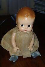 Vintage Hard Plastic Side Glance Baby Doll In Vintage Dress Diaper & Booties