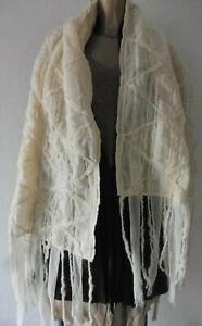 Bianca Van Leur NL Luxus Designer Fransen-Tuch-Schal groß Wolle beige neuw F734