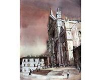 Santa Croce Basilica- Florence, Italy. Watercolor painting Santa Croce (print)