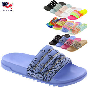 New Women's Rhinestone Comfort Cushioned Band Slide Open Toe Slipper Flat Sandal