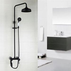 Oil Rubbed Bronze Bathroom Tap Wall Mount Brass Shower Rainfall Set Mixer Faucet