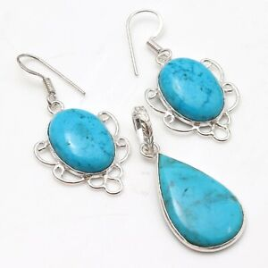 """TURQUOISE & 925 SILVER PLATED PENDANT EARRING SET 1.5/1.7"""", S-5875"""