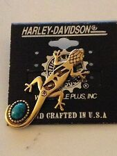 HARLEY DAVIDSON VINTAGE LIZARD PIN W/ TURQUOISE MADE IN USA NEW