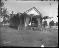 4x5 Small Victorian Home with Porch Baby Carriage Antique Glass Plate Negative 9