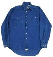 Vtg Levi's Men's Denim Metal Button Up L/S Red Tab Indigo Blue Jean Shirt M 90s