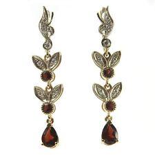 New Art Deco Style 14k White & Yellow Gold Diamond and Garnet Earrings
