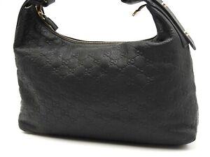 GUCCI Guccissima Horsebit Hobo One Shoulder Bag Leather Black Gold 115867 V-6106