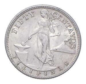 SILVER - WORLD Coin - 1944 Philippines 50 Centavos - World Silver Coin *573