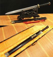 "32"" DAMASCUS FOLDED STEEL BLADE BLACK SAYA CHINESE SWORD(汉剑)SHARP"