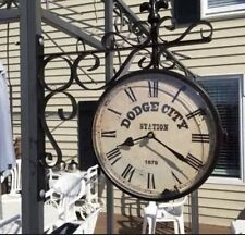 Dodge City Railway Station Clock - Double Sided