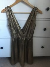 Ladies Oh My Love Topshop Gold Party Dress