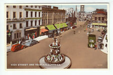 High Street And Fountain Dumfries 1951 Valentines B5345 Old Postcard Unposted