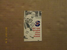 AHL Springfield Indians Vintage Defunct 1987-1988 Logo Hockey Pocket Schedule