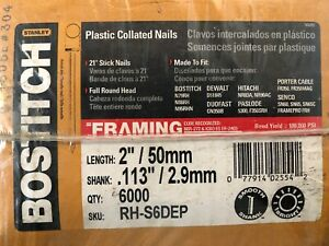 "(Box of 6,000) Full Round Head 2"" x .113"" Framing Stick 6D Nails 21 Degrees"