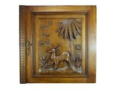 French Antique Architectural Carved Wood Panel Cabinet Closet Door Gazelle