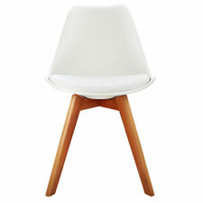 4x Retro Replica Eames Eiffel DSW Dining Chairs Cafe Kitchen Beech White