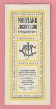 1947 Program for Maryland Jockey Club Spring Meeting - Pimlico Horse Races
