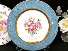 HAVILAND charger baby blue band gold rings and flowers and ribbons