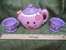 Fisher Price Fun with Food Musical Tea Pot & Lid 2 Tea Cups Sound Works 123 ABC