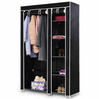 "69"" Portable Closet Storage Organizer Clothes Wardrobe Shoe Rack W/6 Shelf Black"
