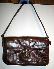 DKNY Brown Baguette Clutch Soft Leather Handbag Purse with Removable Strap