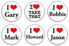 "6 x I Love Take That 25mm 1"" Pin Button Badges Gary Robbie Mark Jason Howard"