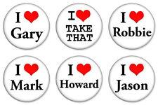 "6 x I Love Take That 25mm 1"" Pin Button Badges Gary Robbie Mark Jason Howard"