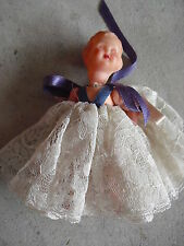 "Vintage 1950s Hard Plastic Dollhouse Character Girl Doll 4"" Tall"