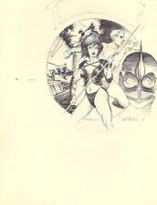 Gwendolyn with Spear Drawing Montage - 1984 Signed art by Dave Stevens Comic Art