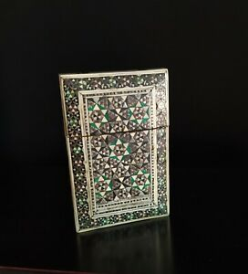 Antique Anglo Indian Sideli Vizagapatam micro Mosaic & Sandalwood Card Case