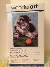 "New Wonderart Latch Hook Rug Kit Playful Kitten 20""X27"" NIP Sealed"