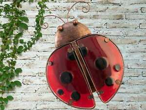 Creekwood Vibrant Red Ladybird Metal Glass Garden Wall Art