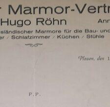 ALTE RECHNUNG PLAUEN VOGTLAND PLAUENER MARMOR VERTRIEB HUGO RÖHN CA 1930
