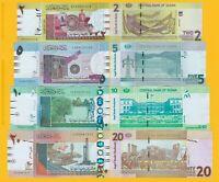 Sudan Set 2, 5, 10, 20 Pounds 2017 UNC Banknotes