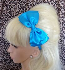 NEW BIG BRIGHT NEON DOUBLE BOW SATIN FABRIC ALICE HAIR BAND HEADBAND 80s RETRO