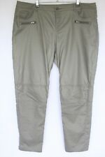 Woman's Khaki Leather Feel Pants - Katies - Size 18