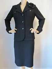NWT St John Knit suit skirt jacket black caviar size 6