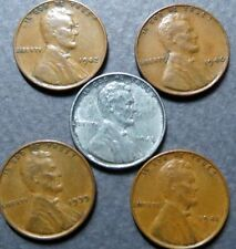1939-1943, Vintage Lot of  5  LINCOLN WHEAT CENTS, Fine Circulated, NICE Coins