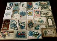 Nice~Lot of~25~FORGET-ME-NOTS~FLOWERS~Antique greeting~Postcards-in Sleeves-b-13