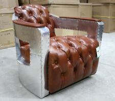 CHESTERFIELD AVIATOR BUTTONED TUB CHAIR INDUSTRIAL ALUMINIUM VINTAGE TAN LEATHER