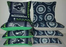SET OF 8 ALL WEATHER SEATTLE MARINERS/SEAHAWKS CORNHOLE BEAN BAGS *FREE SHIPPING