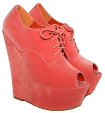 "LADIES CORAL FAUX SUEDE 6"" WEDGE HEEL LACE UP ANKLE BOOT WITH PEEP TOE SIZES 3-8"
